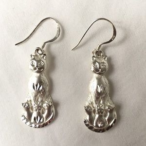 Sterling Silver Mother Cat Three Kittens Earrings